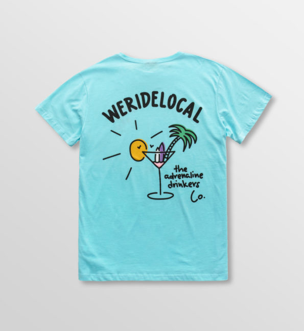 Weridelocal_Adrenaline_Drinkers_Tee_Aqua_Cotton_unisex_t-shirt_street_athletic_SS19_Back-1100×1200